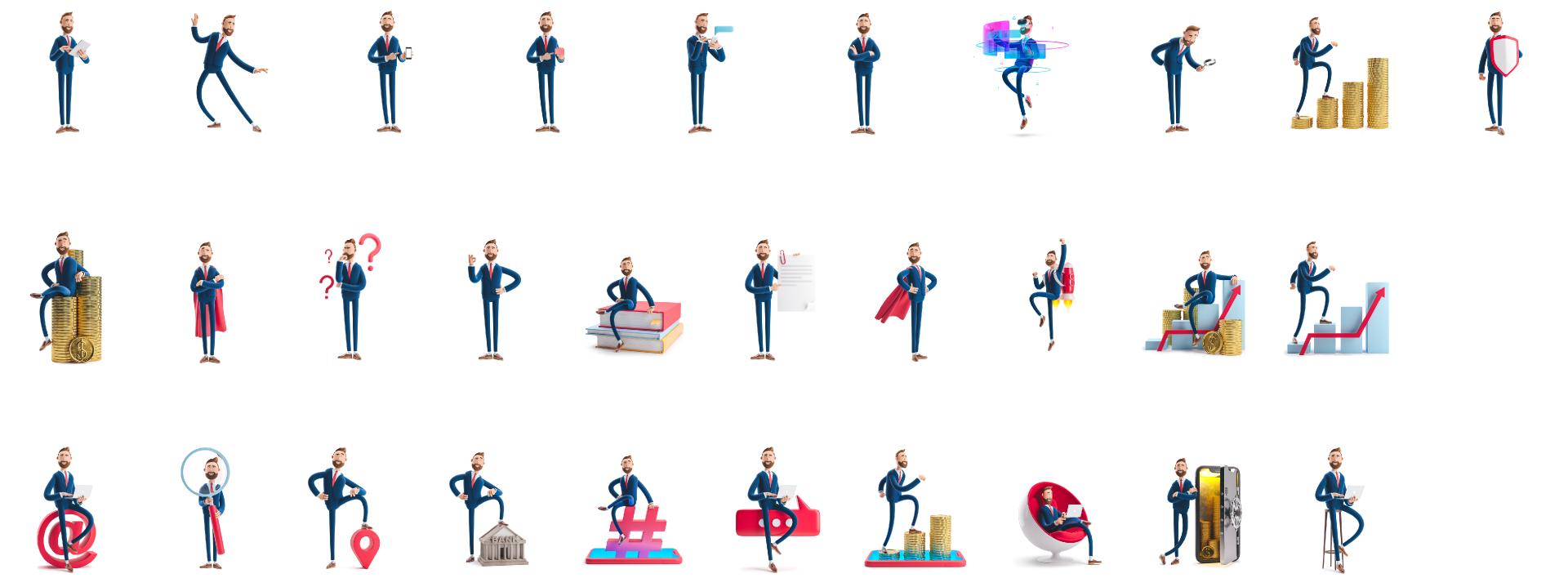 Figma icons Businessman Billy 3D