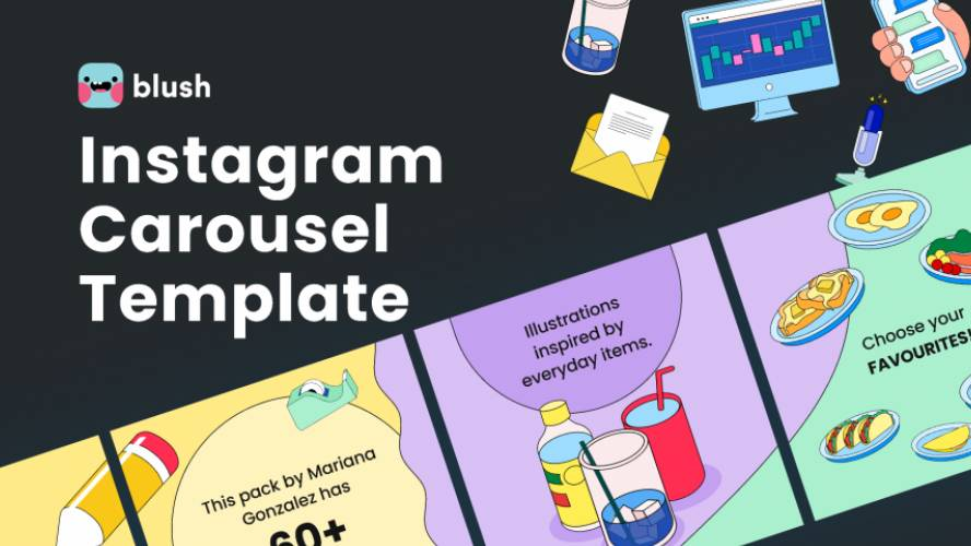 Figma Instagram Carousel Template with Illustrations