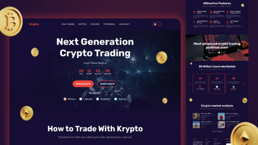 Figma Krypto Cryptocurrency Landing Page
