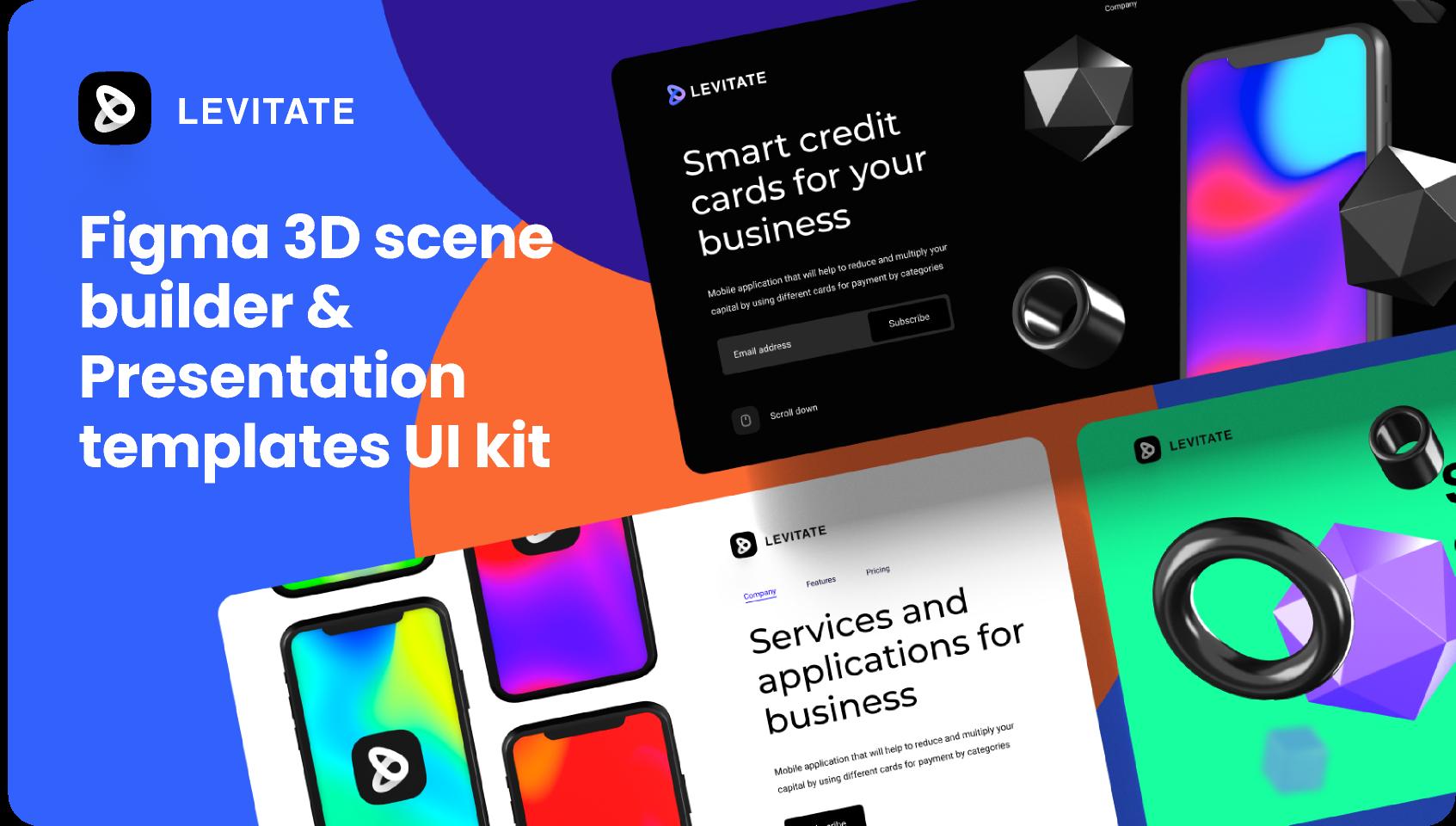 Figma Levitate UI kit for 3D presentations template