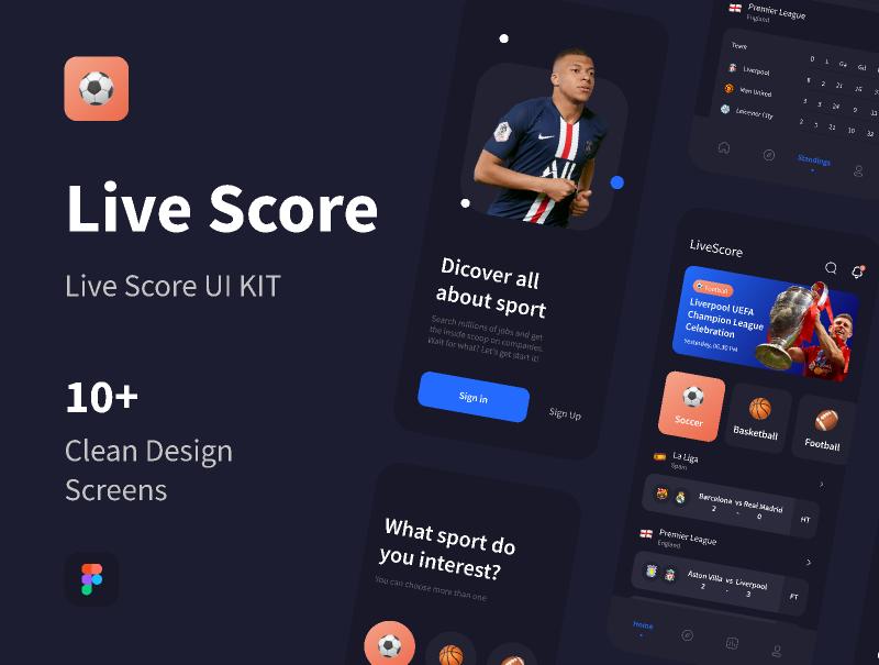 Figma Live Score UI KIT (FREEBIES) Template