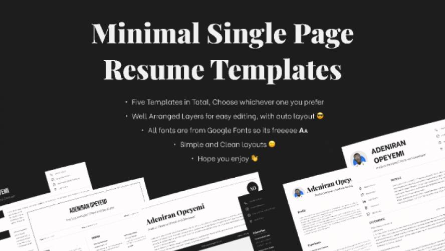 Figma Minimal Single Page Resume Templates