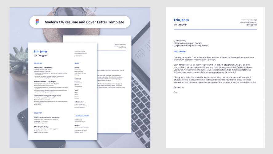 Figma Modern CV Template Resume and Cover Letter