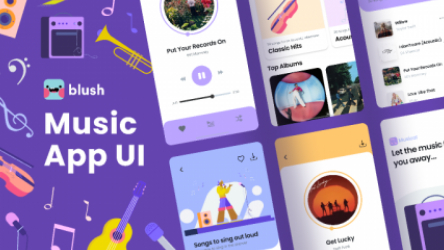 Figma Music App Template with Illustrations