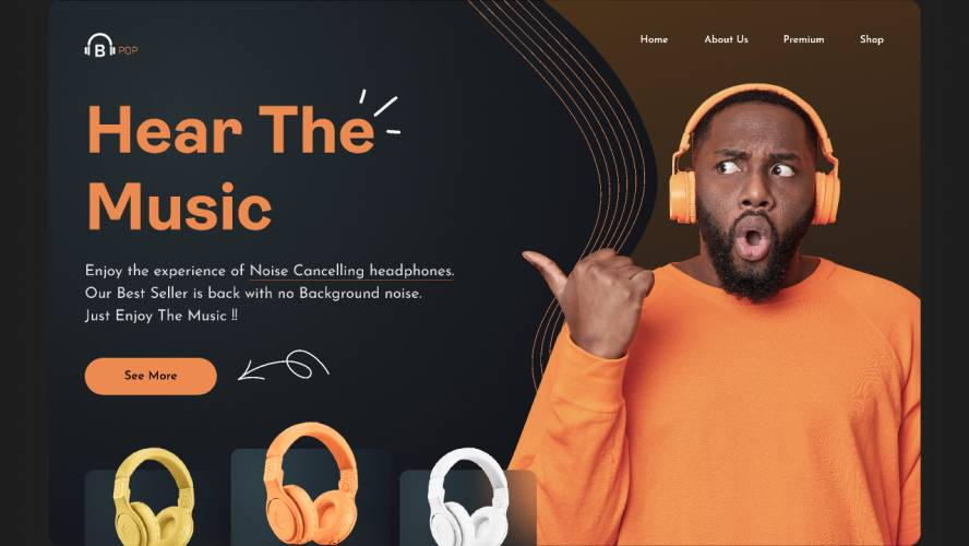 Figma Noise Cancelling Headphone Landing Page
