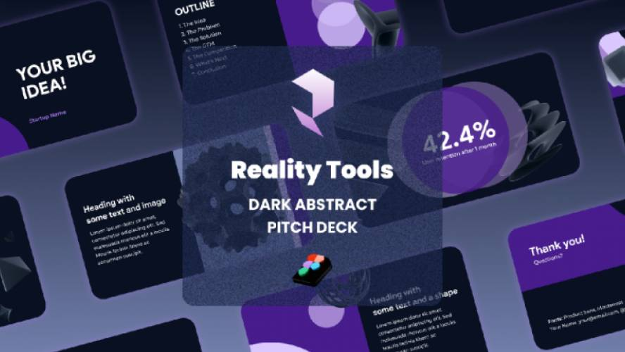 Figma Presentation Dark Abstract Icons - Pitch Deck