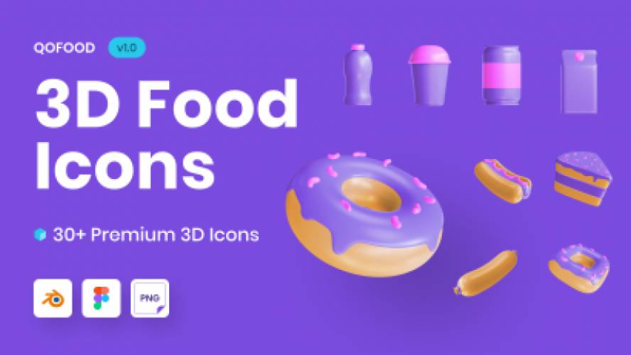 Figma QOFOOD 3D Food and Drink Icons