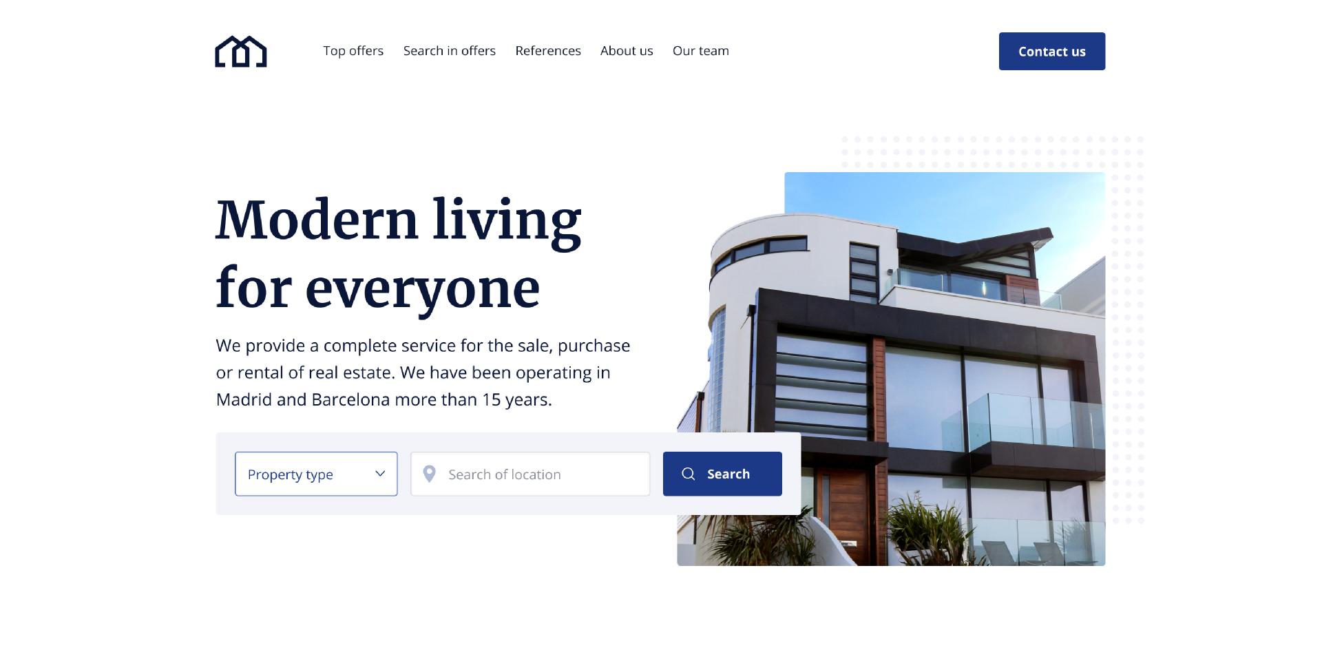 Figma Real estate web design Free Template