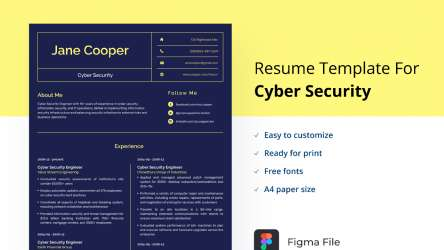Figma Resume Template for Cyber Security