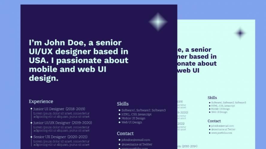 Figma Resume/Cv Template Design Free Download