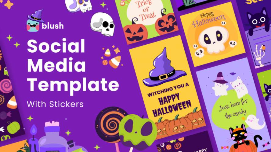 Figma Social Media Template with Halloween Stickers