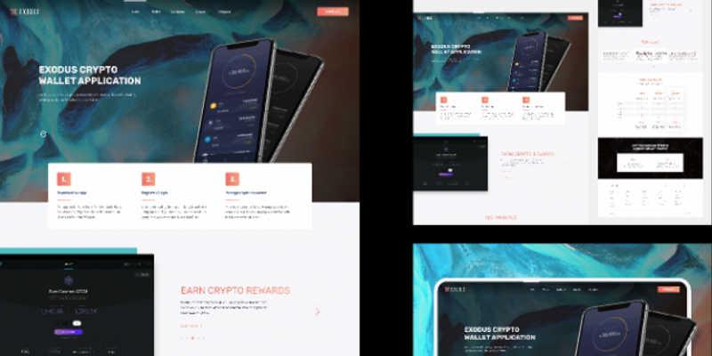 Figma template Exodus Crypto Wallet Landing Page Freebie