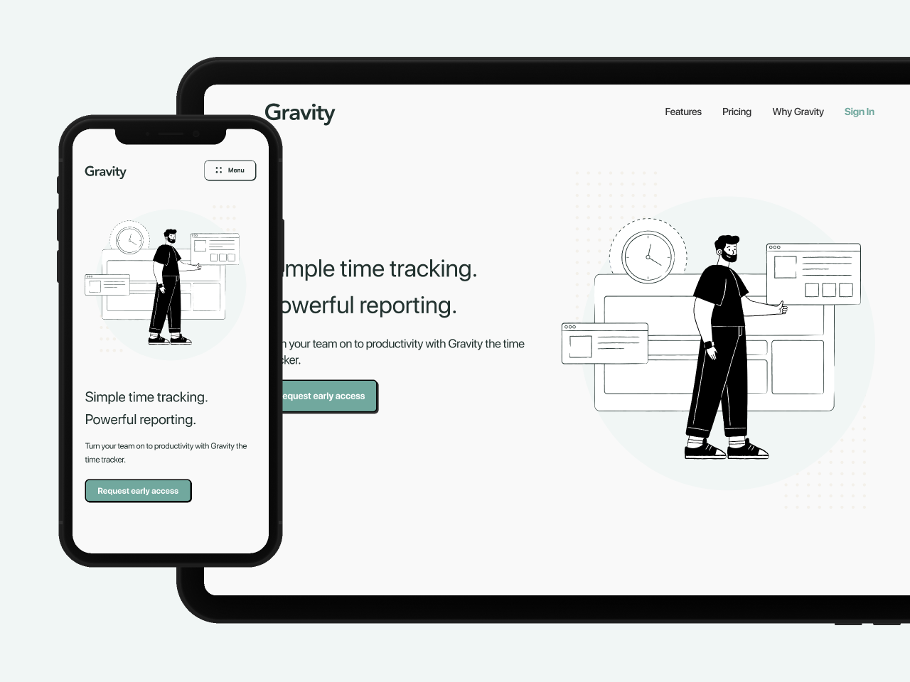 Figma template Time Tracking Landing Page Hero