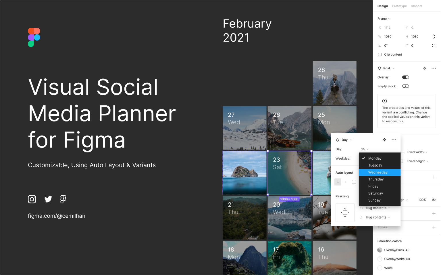 figma Visual Social Media Planner template