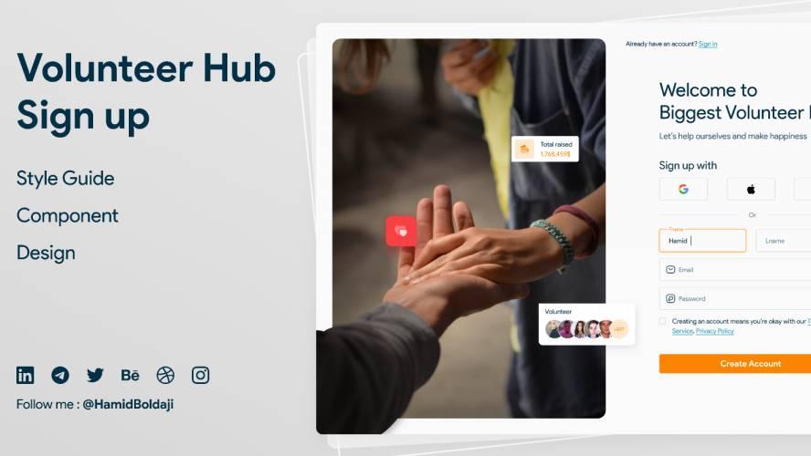 Figma Volunteer Hub Sign up