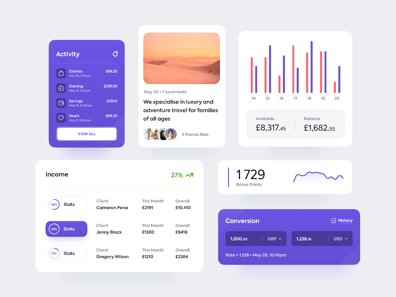 Fintech Elements figma free template