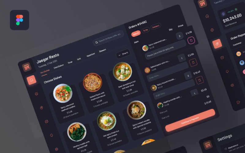 Food POS Dark - Tablet Device figma