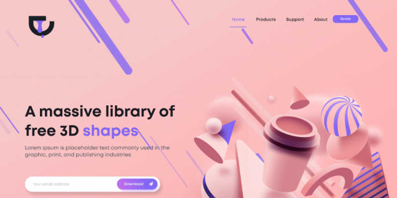 Free 3d shape Landing page for Figma