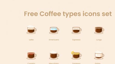 Free Coffee types icons Figma