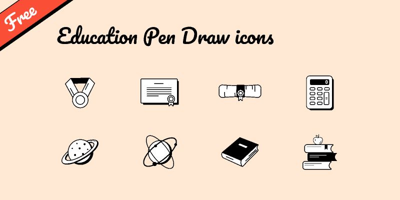 Free Education Pen Draw icons set figma