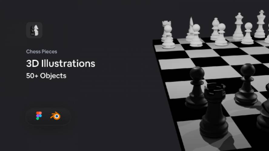 Free figma Chess Pieces 3D Illustration template