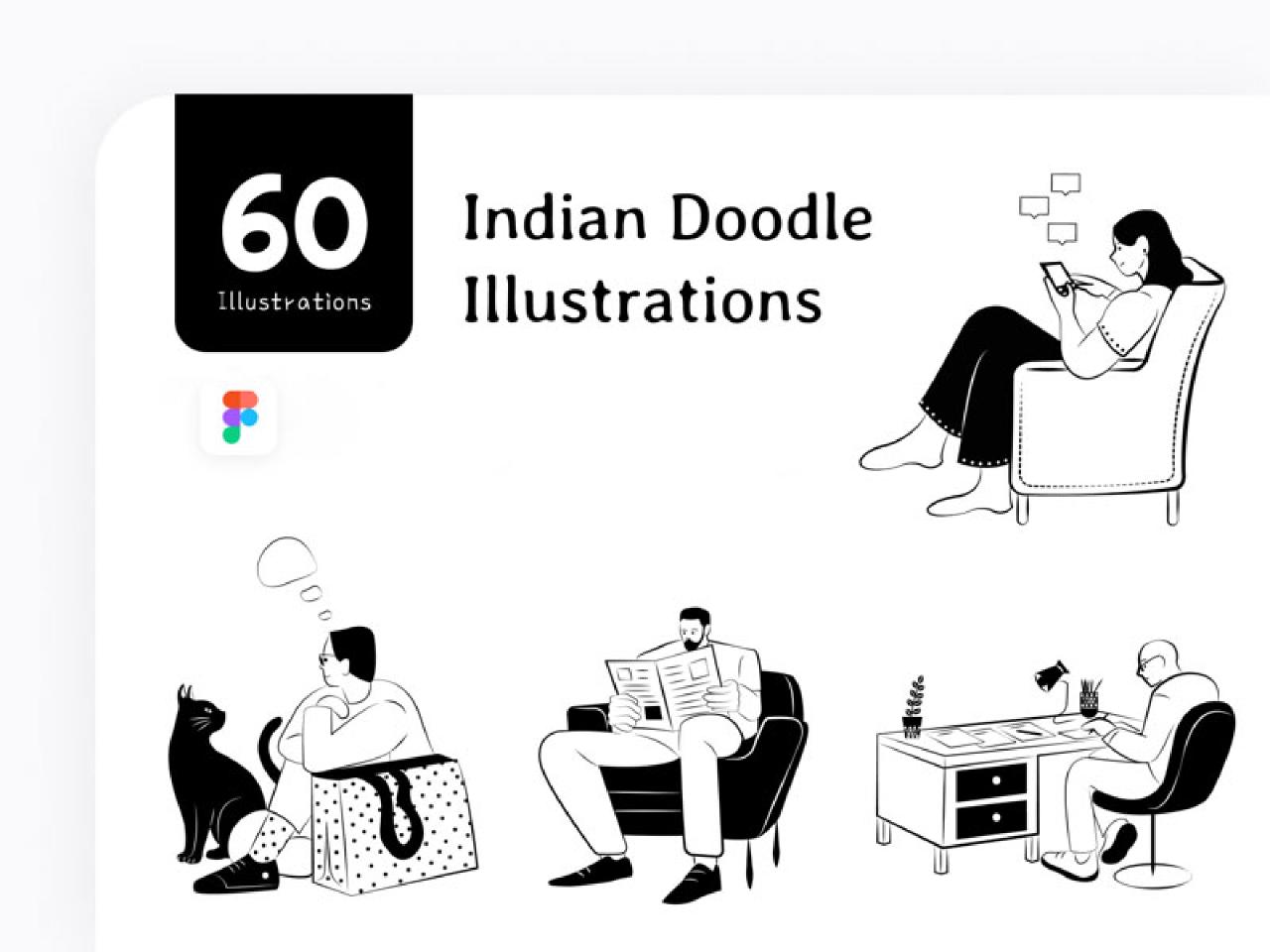 Free figma Doodle Illustration Pack (Indian)