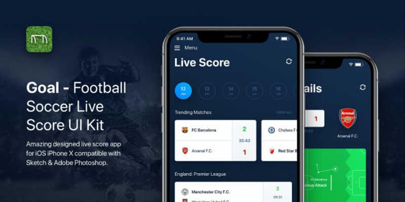 Free Figma Goal - Soccer Football Live Score UI Kit