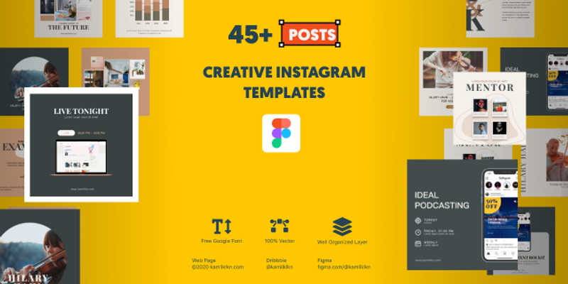 Free Figma Instagram Bundle Templates (50 post)