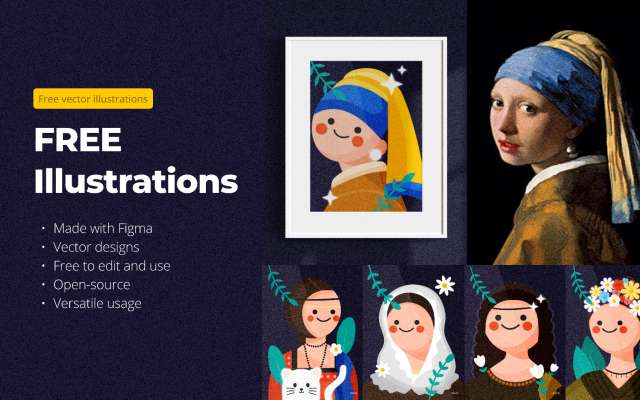 Free Illustration recreating famous painting