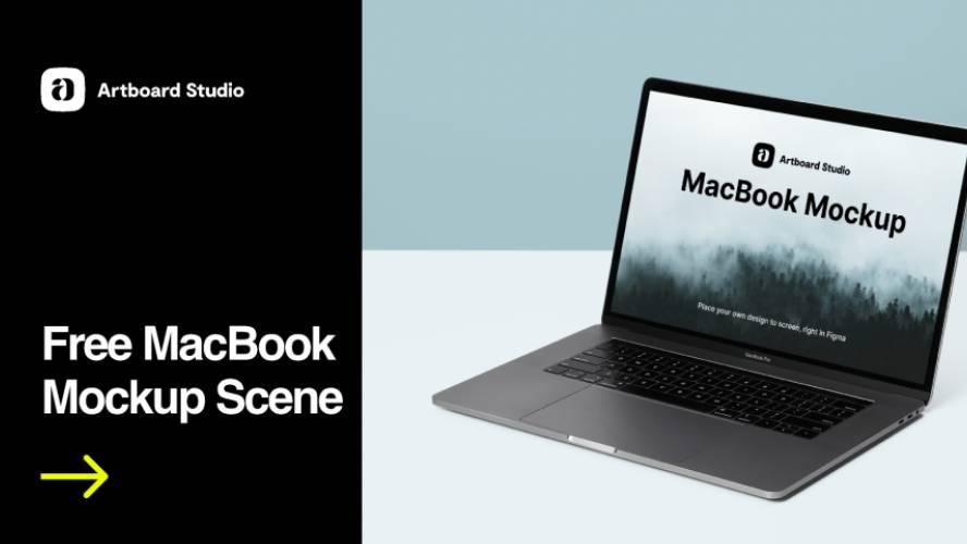 Free MacBook Mockup Scene Figma Design