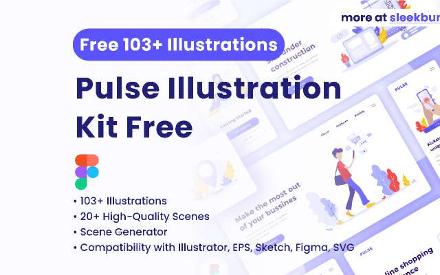Free Pulse Illustration Kit 130+ Assets and Scenes figma
