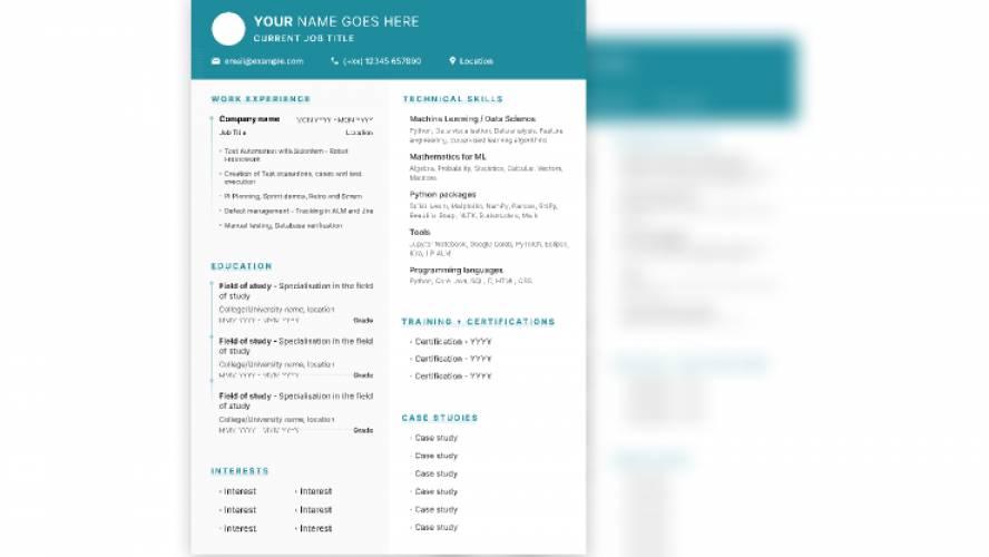Free Resume templates figma
