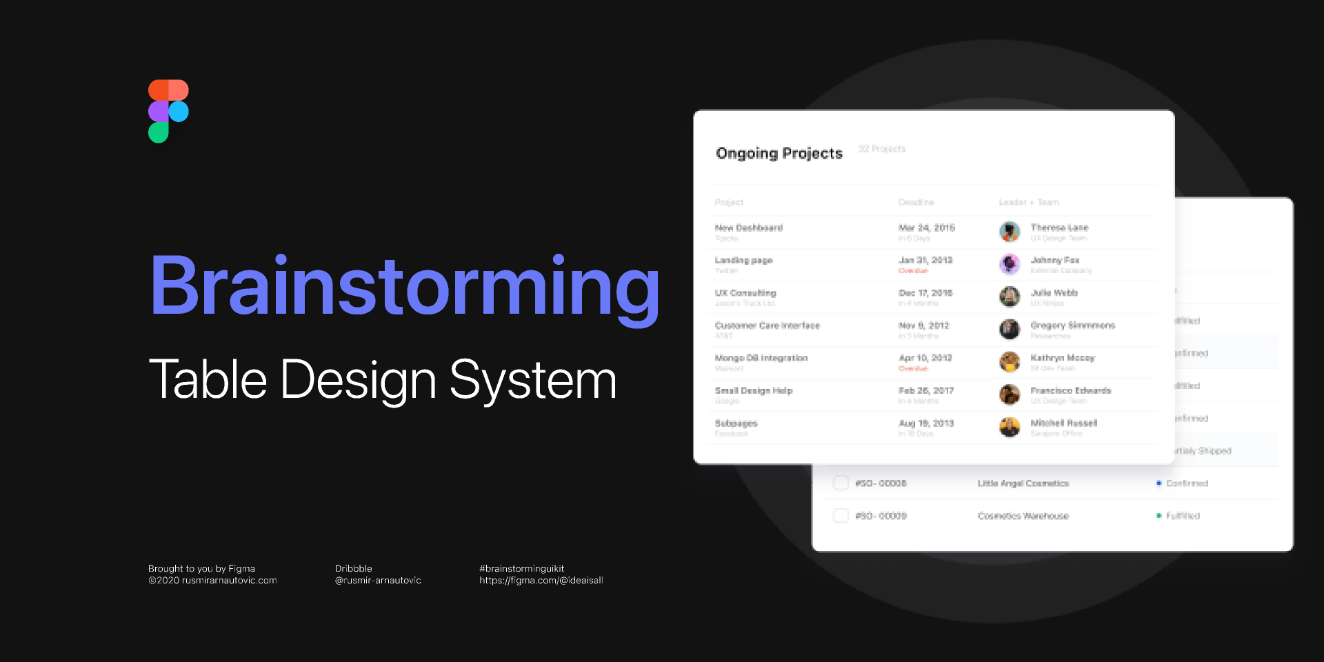 Freebie Brainstorming Table Design system (Figma Template)