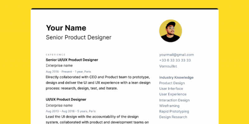 Freebie CV / Resume Figma file