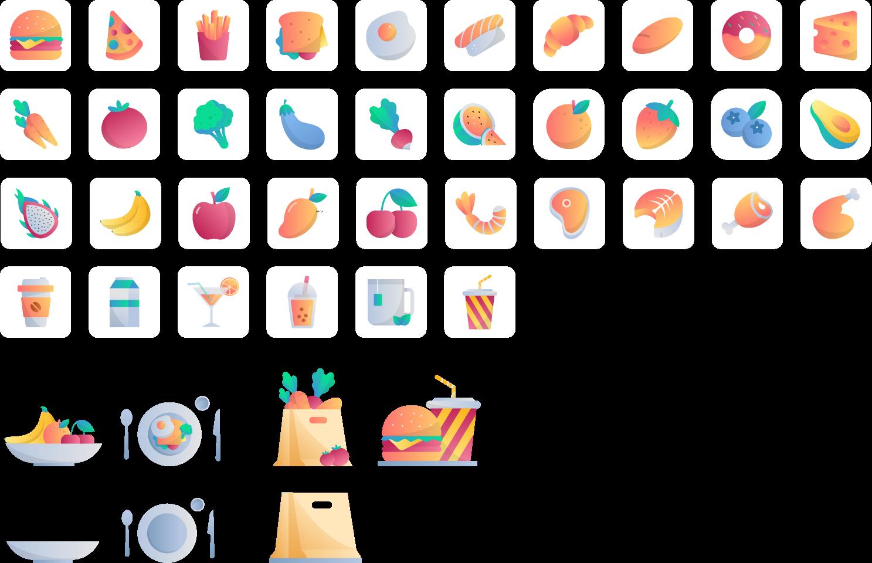 Freebie Figma Icon Babuko (Icon food 3D)