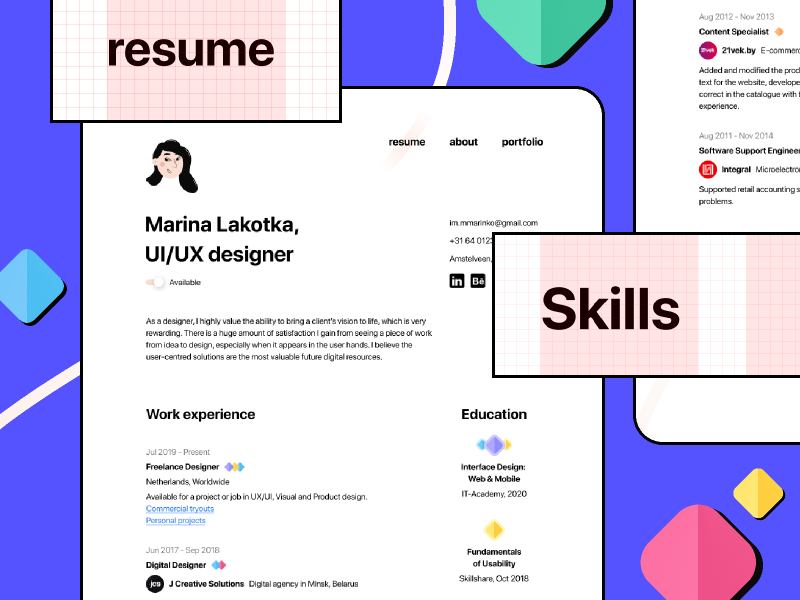 Freebie Figma Minimal CV/Resume template