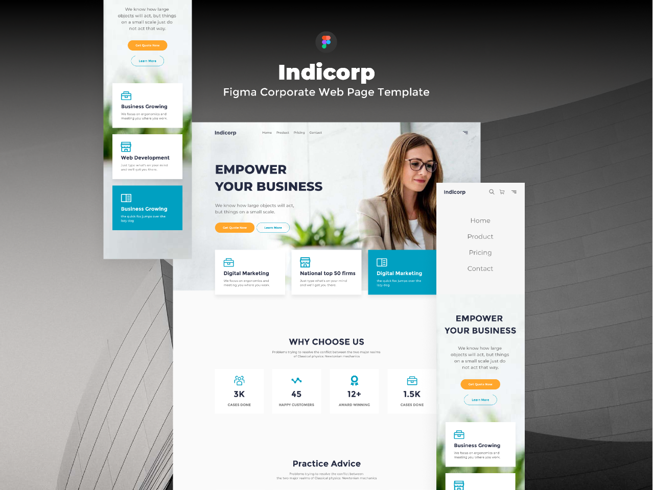 Freebie Figmate Indicorp - Figma Corporate Web Page Template