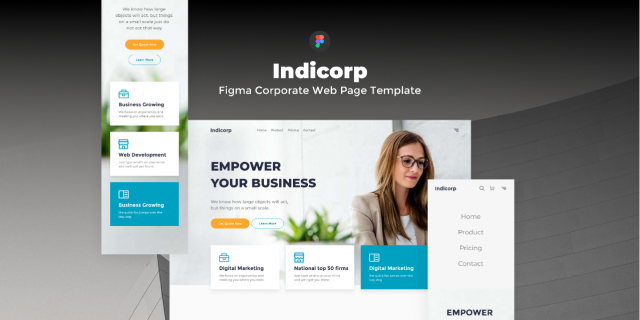 Freebie Figmate Indicorp - Figma Corporate Web Page Template