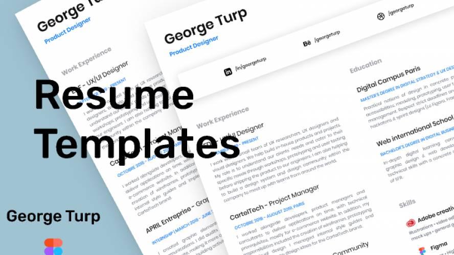 Freebie Minimal Resume / CV Template (Figma template)