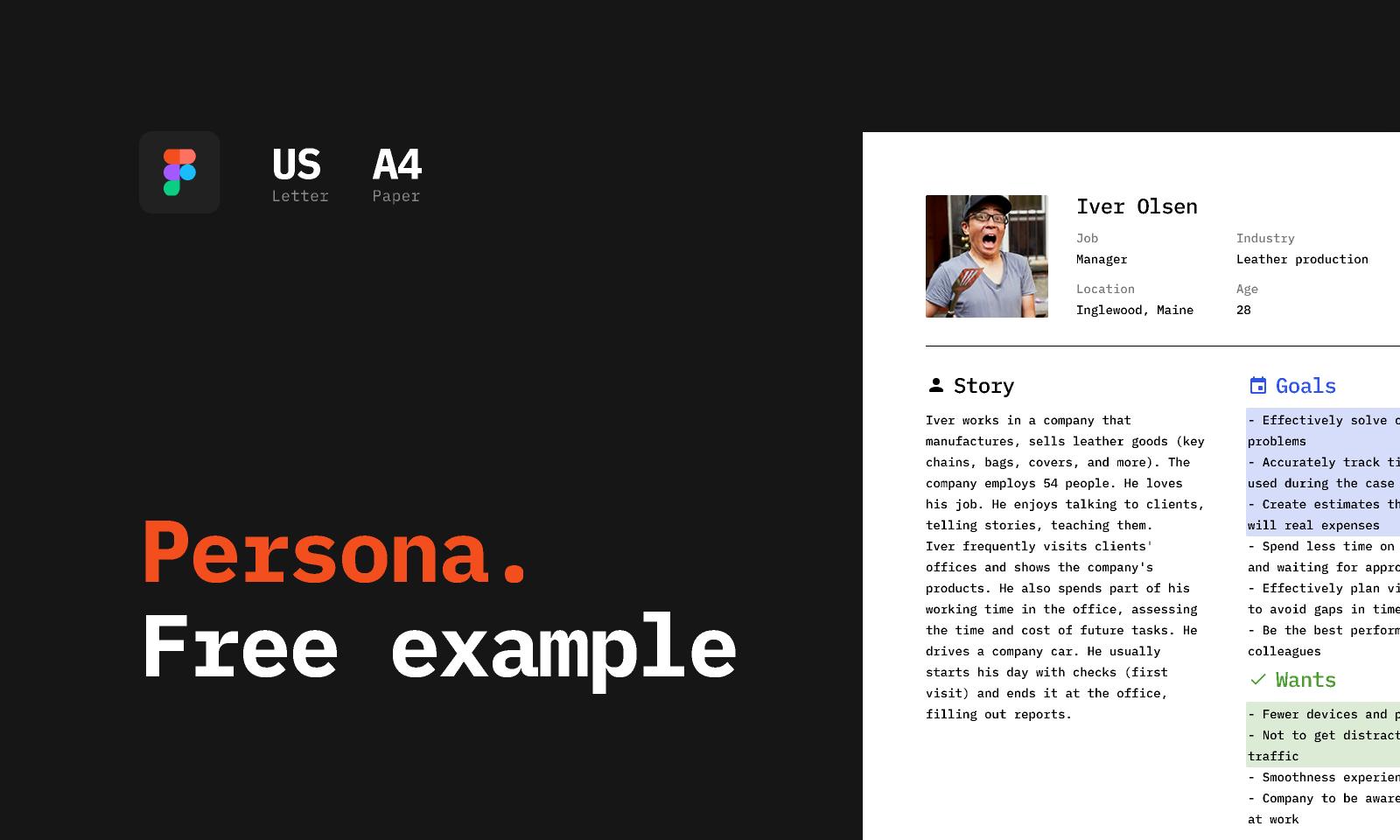 Freebie Persona. Free template (Figma)