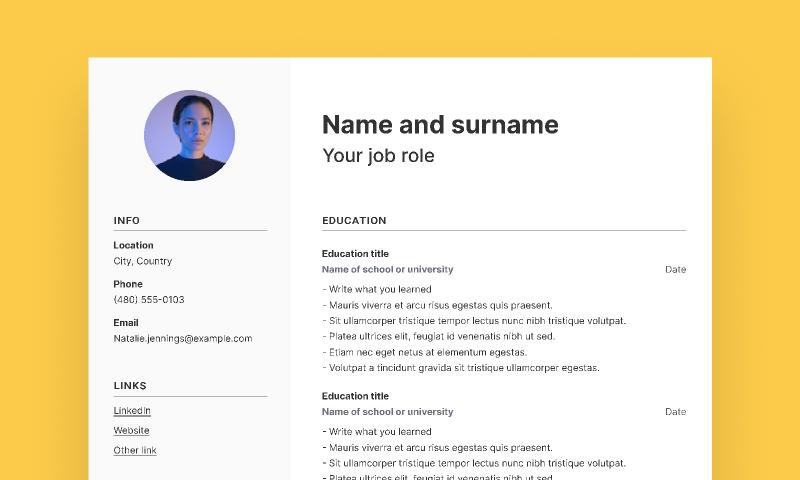 Freebie Simple CV template (Figma)