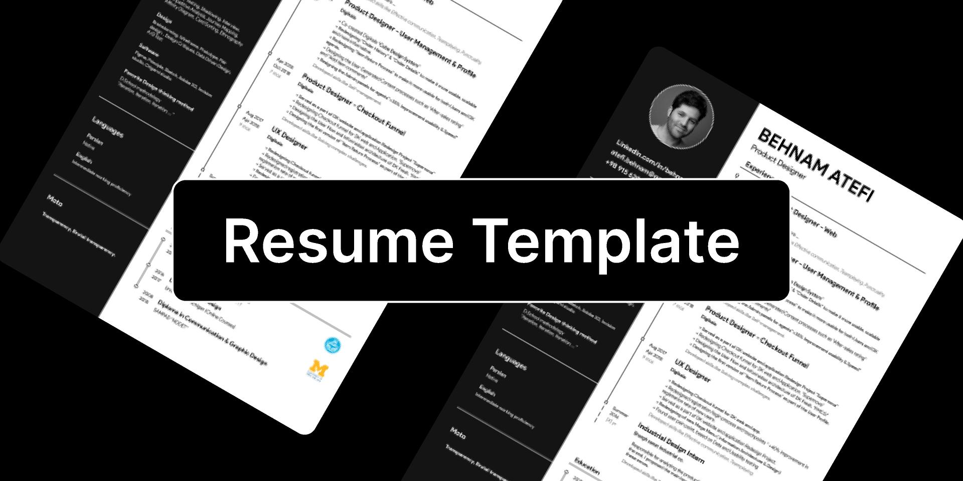 Freebie Simple Resume Template (Figma template)