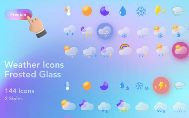 Frosted Glass Weather Icons Figma