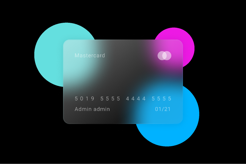Glass credit card UI Mobile figma