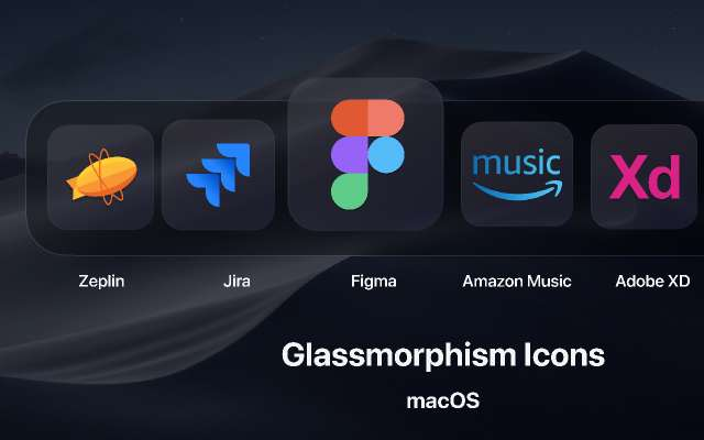 Glassmorphism Icons for macOS figma