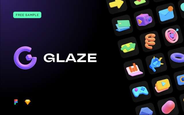 Glaze - 3D Icons Figma FREE SAMPLE