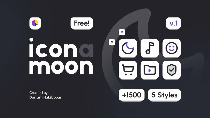 (IconaMoon) Free Set 1500+ Icons In 5 Styles Figma Template
