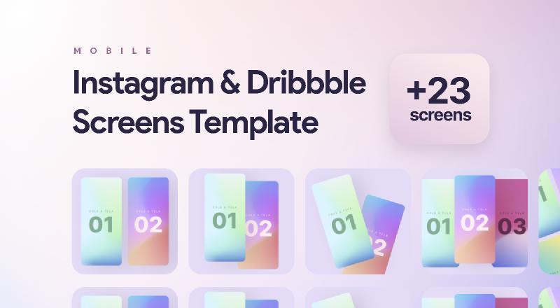 Instagram & Dribbble Screens Templates figma