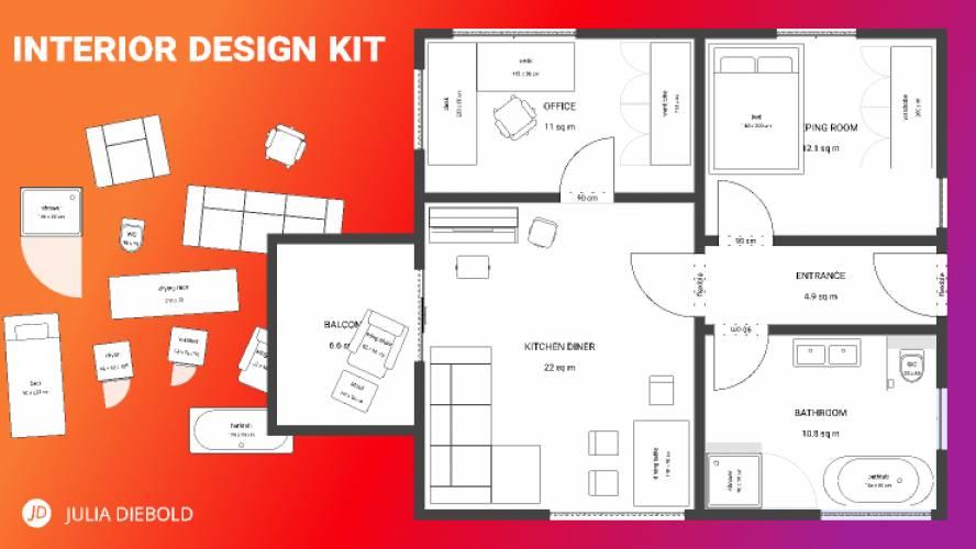 Interior Design Kit - Floor plans made easy!