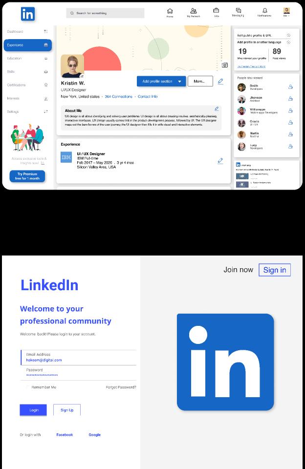 LinkedIn UI Redesign figma free